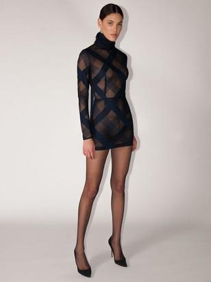 LaQuan Smith Stretch Tulle Turtleneck Mini Dress