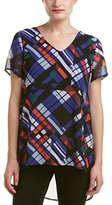 Vince Camuto Women's Short Sleeve Graphic Map Shirttail Blouse with Knit