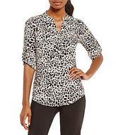 Calvin Klein Leopard Print Crepe de Chine Roll-Sleeve Blouse