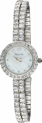 Accurist Womens Japanese Quartz Watch With Crystal Stone Set Case And Bracelet Mother Of Pearl Dial Jewellery Type Clasp 2 year guarantee.