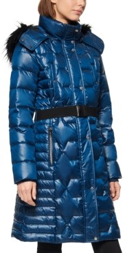 Andrew Marc Shine Belted Faux Fur Hooded Down Puffer Coat
