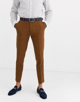 Burton Menswear skinny fit trousers in tan-Brown