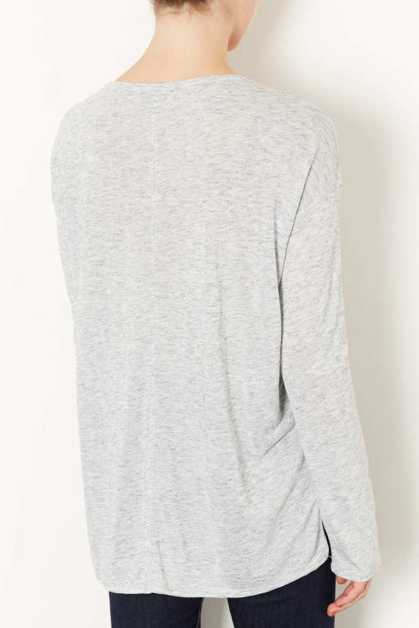 Topshop Long Sleeve Slubby Top