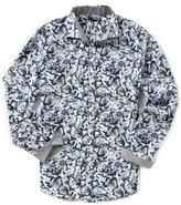 Murano Slim-Fit Spread Collar Bird Print Long-Sleeve Sportshirt