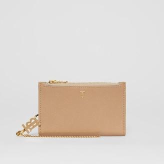 Burberry Monogram Motif Grainy Leather Wallet with Detachable Strap
