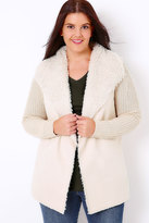 Yours Clothing Cream Chunky Knit Cardigan With Shearling Collar