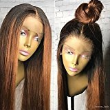 Fantasy Beauty 360 Lace Frontal Wig Human Hair Straight Wig 100% Brazilian Hair Ombre Black Roots 1B T 30 Color 360 Lace Wig 130% Density Lace Front Wig (18 Inches, 360 Lace frontal wig)