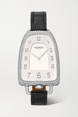 HERMÈS TIMEPIECES Galop D'hermes 26mm Medium Stainless Steel, Alligator And Diamond Watch - Silver