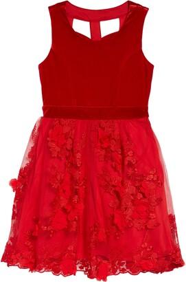 Trixxi Kids' Velvet Embellished Dress