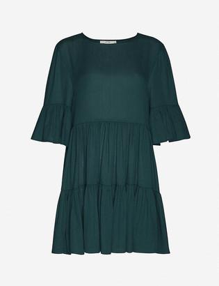 Peony Swimwear Lagoon cropped organic-cotton and hemp-blend mini smock dress