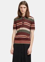 Valentino Men's Striped Fine Knit Polo Shirt In Brown