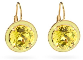 Alison Lou Lab-sapphire, Enamel And 14kt Gold Drop Earrings - Yellow