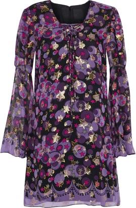 Anna Sui Metallic Printed Silk-blend Fil Coupe Mini Dress