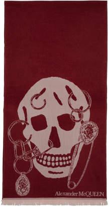 Alexander McQueen Burgundy Wool Safety Pin Skull Scarf