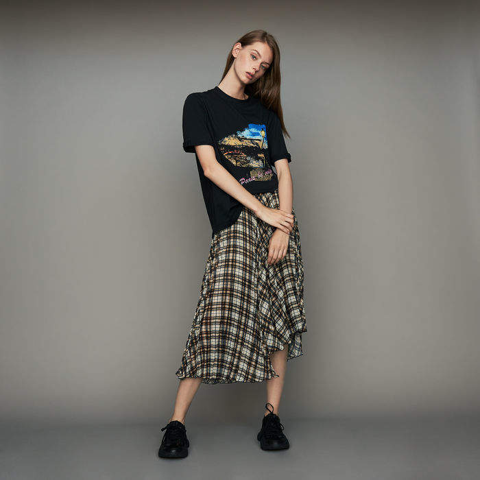 Maje Oversize printed cotton T-shirt