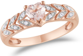 Ice Sofia B 5/9 CT TW Diamond and Pink Morganite Fashion Ring in 10K Rose Gold