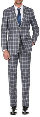 English Laundry Gray Plaid Slim Fit Peak Lapel Suit