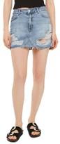 Topshop Petite Women's Rip Denim Miniskirt