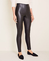 Ann Taylor Faux Leather Seamed Side Zip Leggings