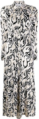 Paco Rabanne Abstract-Print Velvet Dress