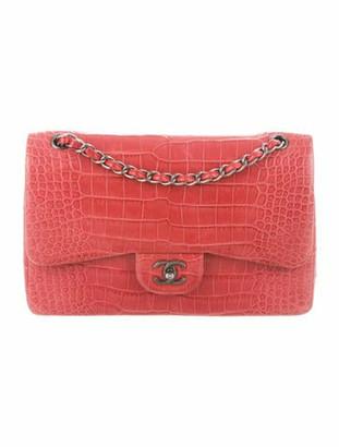 Chanel Alligator Classic Jumbo Double Flap Bag Pink
