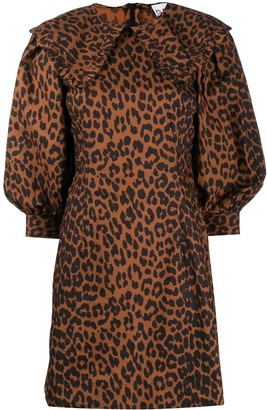 Ganni Leopard Print Balloon-Sleeve Mini Dress