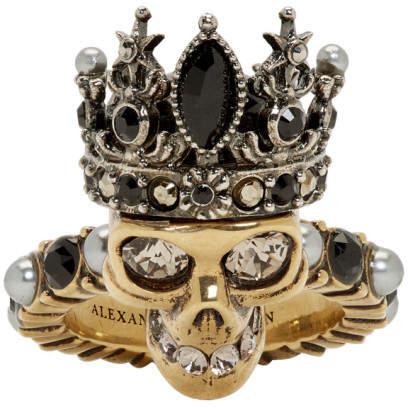 Alexander McQueen Gold Queen Skull Ring