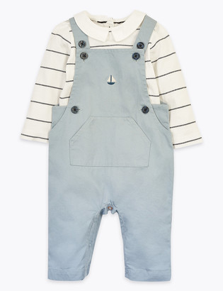 Marks and Spencer 2 Piece Boat Embroidered Dungaree Outfit (0 -36 Mths)