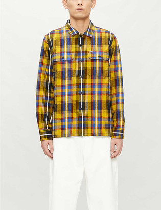 Obey Russel checked cotton flannel shirt