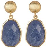 Rivka Friedman 18K Gold Clad Deco Shape Faceted Blue Quartzite Dangle Post Earrings