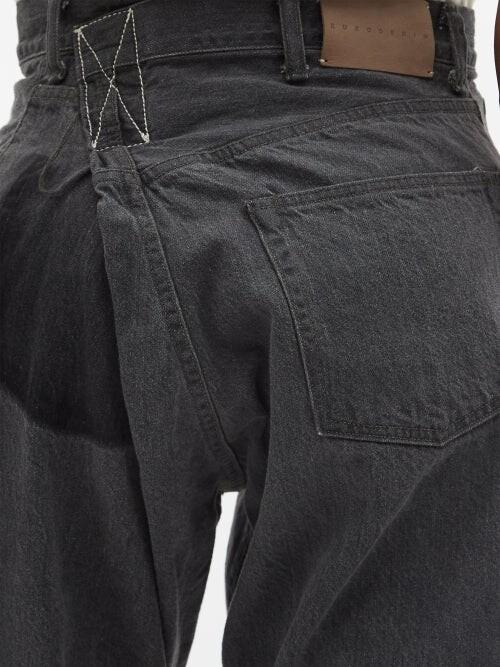 Thumbnail for your product : Kuro Asymmetric High-rise Straight-leg Jeans - Black