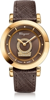 Salvatore Ferragamo Minuetto Gold IP Stainless Steel Case and Brown Saffiano Leather Strap Women's Watch w/Diamonds