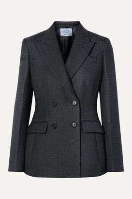 Prada Double-breasted Checked Wool-blend Blazer - Gray