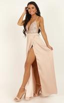 Showpo Fairest Of Them All Dress in rose gold glitter - 10 (M) Dresses