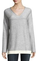 ATM Anthony Thomas Melillo Cashmere-Blend Ribbed V-Neck Sweater