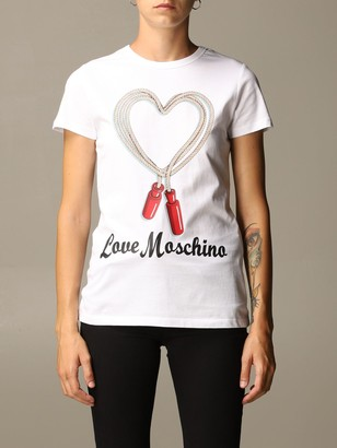 Love Moschino Cotton T-shirt With Rope Print