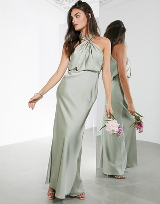 ASOS EDITION satin ruched halter neck maxi dress in sage green
