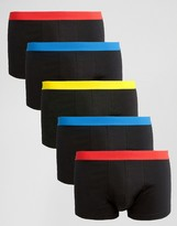 Asos Trunks 5 Pack with Bright Waistband