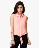 Forever 21 Pyramid Studded Tie-Front Shirt