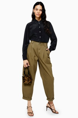 Topshop Womens Khaki Casual Cotton Trousers - Khaki
