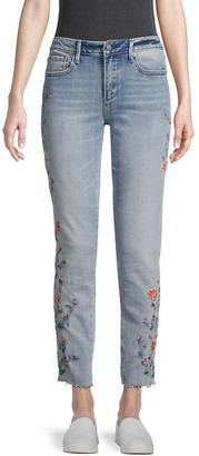 Driftwood Floral-Embroidered Mid-Rise Jeans