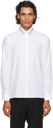 Fendi White Embroidered Collar Shirt