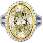 18K Two Tone Gold Light Fancy Yellow Diamond Engagement Ring