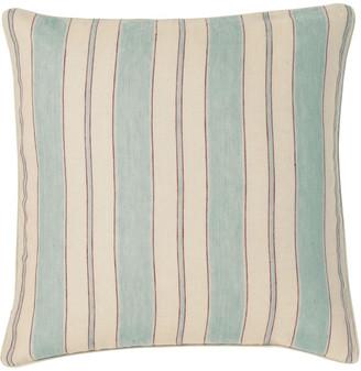 OKA Stringa Stripe Linen Cushion Cover, Large - Pale Blue