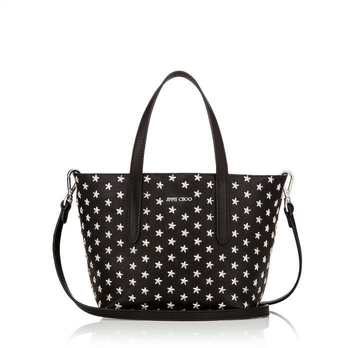 Jimmy Choo MINISARA Black Leather with Mini Stars Mini Tote Bag