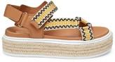 Prada Embroidered Raffia Flatform Sport Sandals