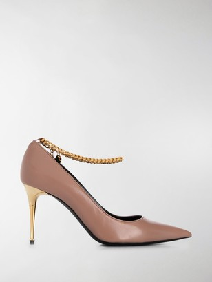 Tom Ford Chain-Trimmed 85mm Leather Pumps