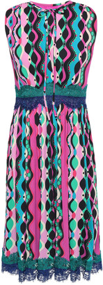Emilio Pucci Pleated Lace-trimmed Printed Stretch-jersey Midi Dress