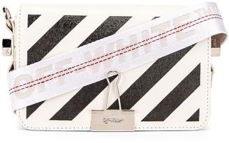 Off-White Off White Diagonal Mini Flap Bag in White & Black | FWRD