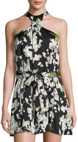 Lucca Couture Sophie Cross-Front Halter Dress, Black Pattern